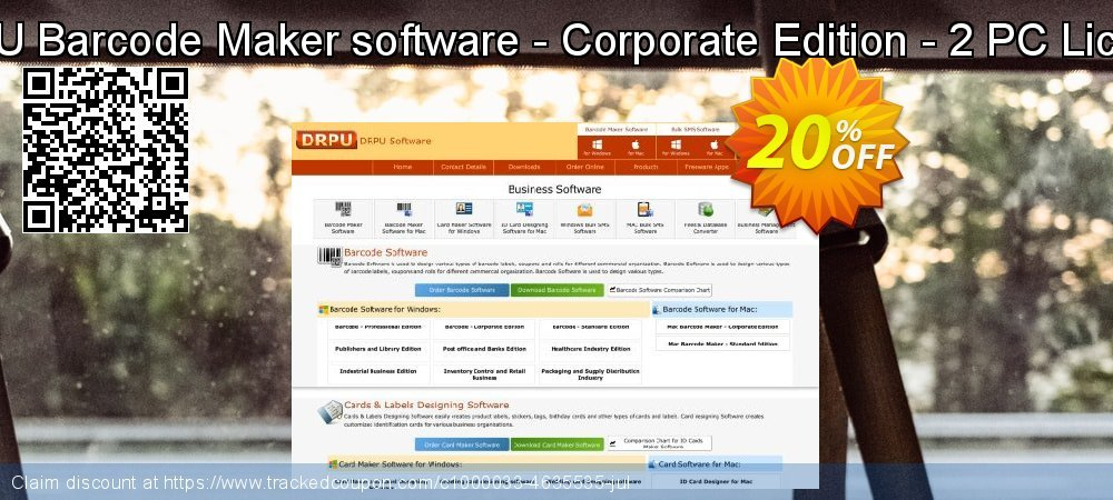 Get 20% OFF DRPU Barcode Maker software - Corporate Edition - 2 PC License offering sales