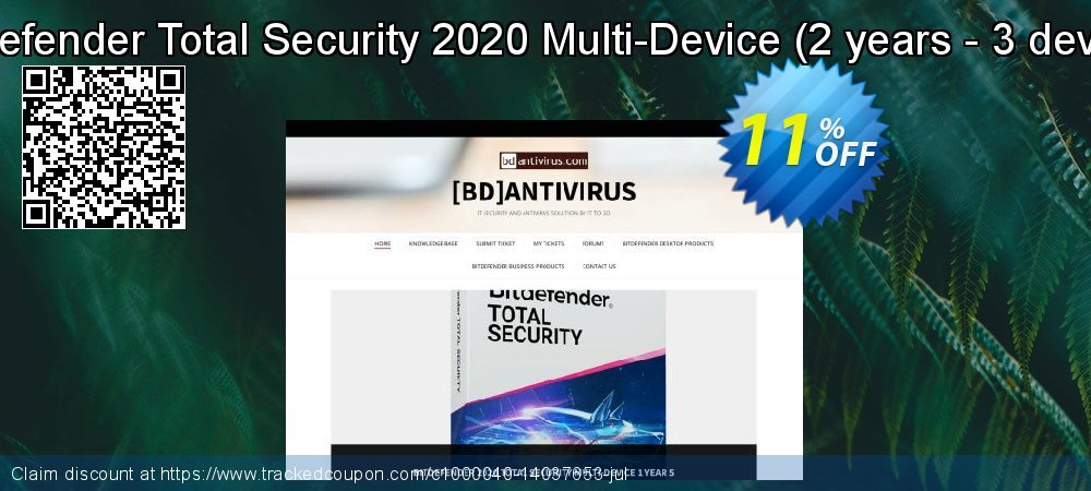Get 10% OFF Bitdefender Total Security 2019 Multi-Device, 2 years - 3 device offering sales