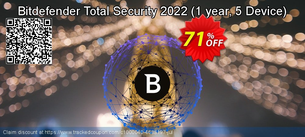 Bitdefender Total Security 2021 - 1 year, 5 Device  coupon on Mothers Day super sale