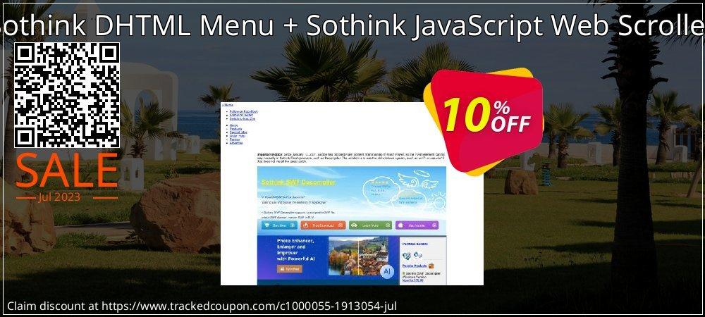 Sothink DHTML Menu + Sothink JavaScript Web Scroller coupon on College Student deals offering sales