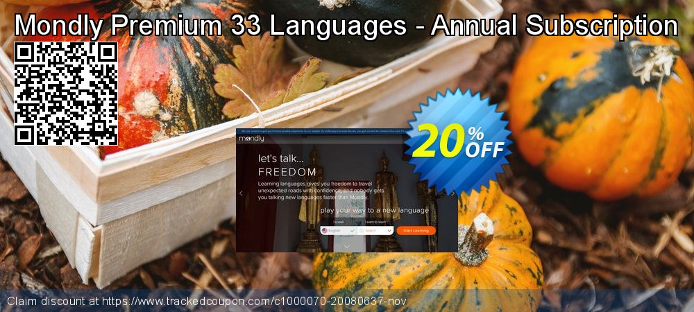 Get 91% OFF Mondly Premium 33 Languages - Annual Subscription promo