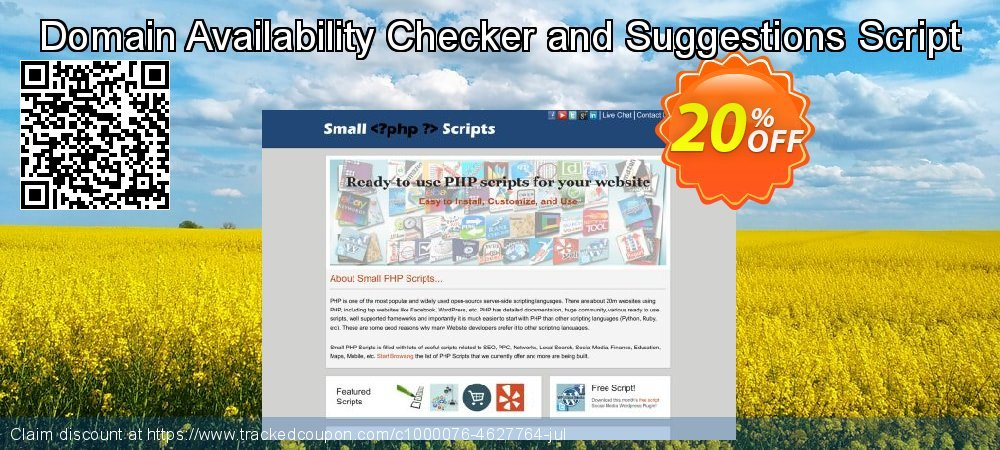 Get 20% OFF Domain Availability Checker and Suggestions Script offering sales