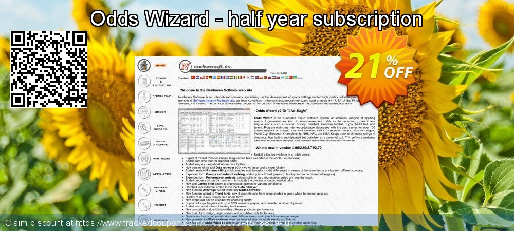 Get 10% OFF Odds Wizard - half year subscription offering sales