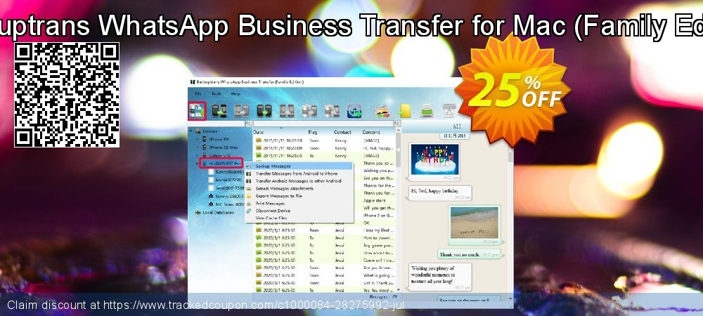 Backuptrans WhatsApp Business Transfer for Mac - Family Edition  coupon on Social Media Day discounts