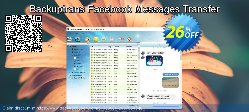 Backuptrans Facebook Messages Transfer coupon on Exclusive Student deals promotions