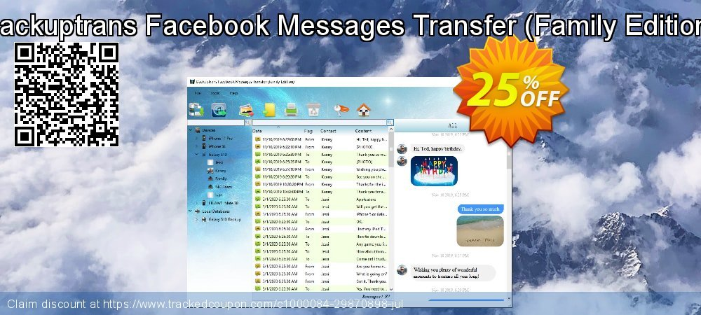 Backuptrans Facebook Messages Transfer - Family Edition  coupon on Thanksgiving deals