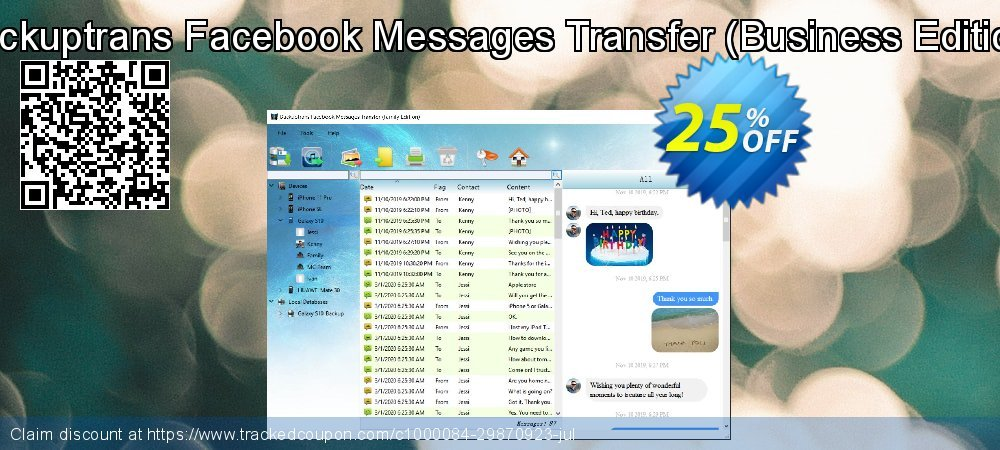 Backuptrans Facebook Messages Transfer - Business Edition  coupon on Black Friday promotions