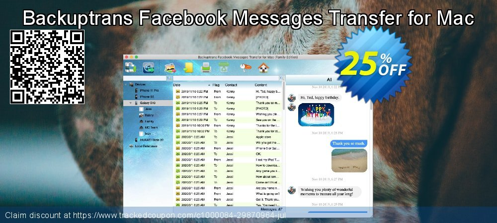 Backuptrans Facebook Messages Transfer for Mac coupon on Exclusive Student deals deals