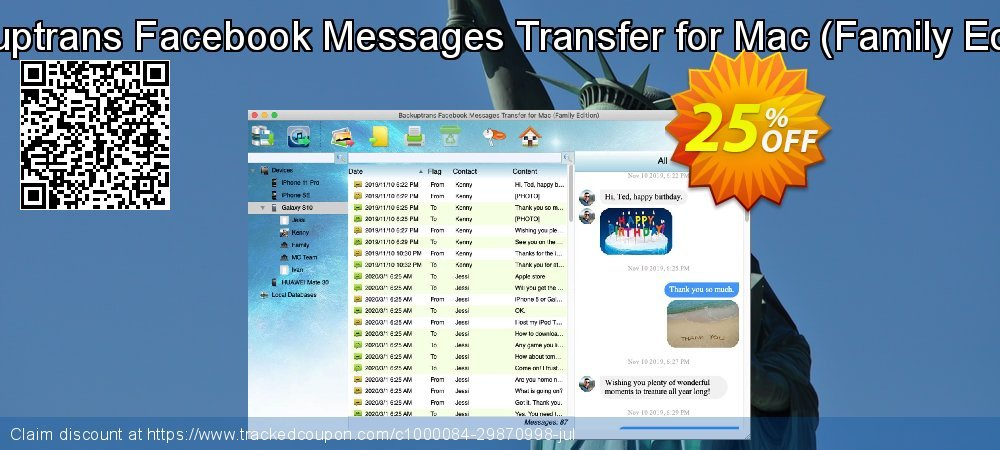 Backuptrans Facebook Messages Transfer for Mac - Family Edition  coupon on Easter offering discount