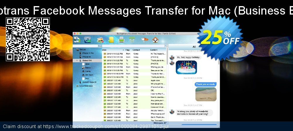 Backuptrans Facebook Messages Transfer for Mac - Business Edition  coupon on Back to School coupons offering sales