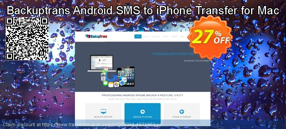 Backuptrans Android SMS to iPhone Transfer for Mac coupon on Back to School promotions super sale
