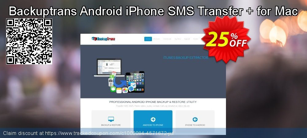 Backuptrans Android iPhone SMS Transfer + for Mac coupon on April Fool's Day offer
