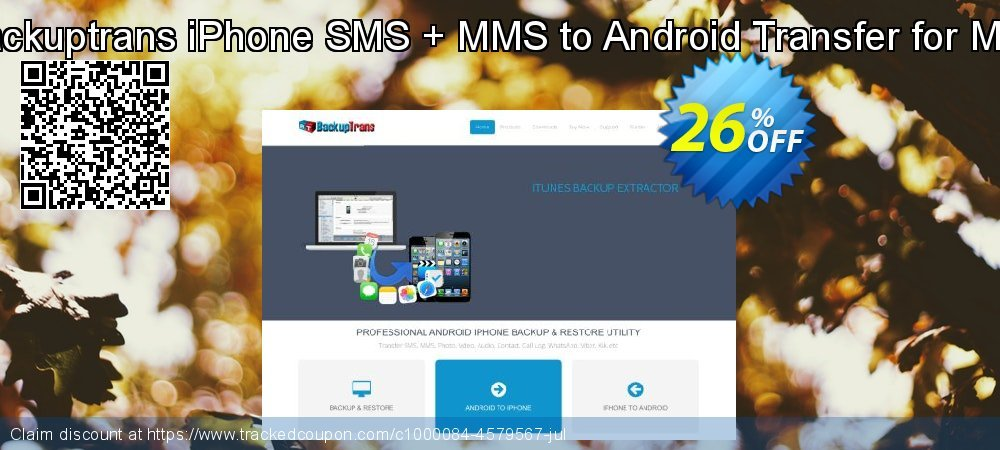 Backuptrans iPhone SMS + MMS to Android Transfer for Mac coupon on Spring offering discount