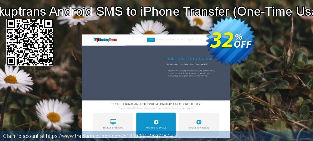 Backuptrans Android SMS to iPhone Transfer - One-Time Usage  coupon on Easter offering sales