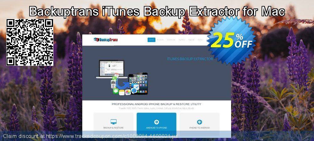 Backuptrans iTunes Backup Extractor for Mac coupon on Back to School shopping offering sales