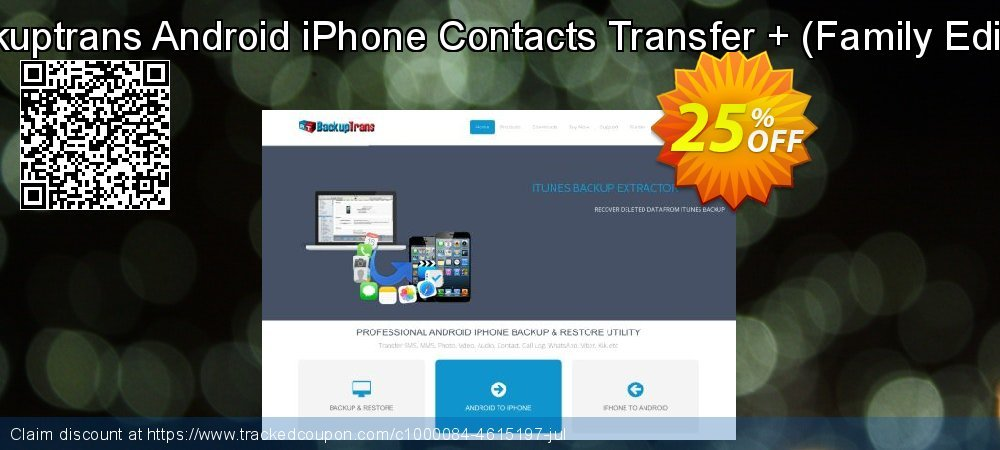 Backuptrans Android iPhone Contacts Transfer + - Family Edition  coupon on New Year's eve offer
