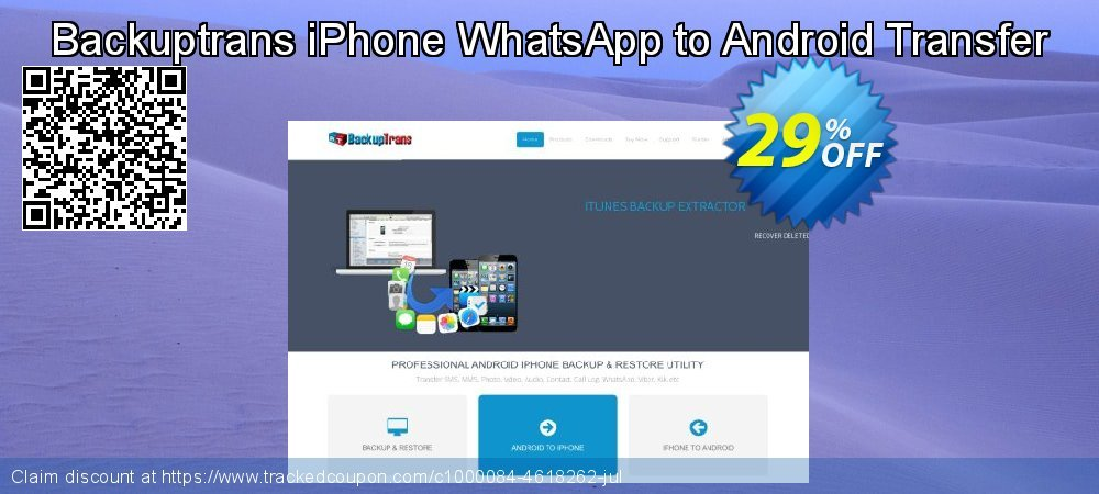 Backuptrans iPhone WhatsApp to Android Transfer coupon on Easter promotions