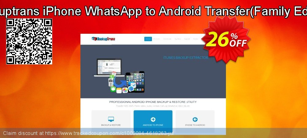 Backuptrans iPhone WhatsApp to Android Transfer - Family Edition  coupon on Spring sales