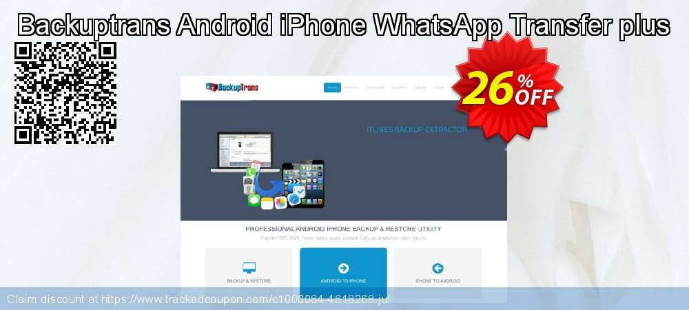 Backuptrans Android iPhone WhatsApp Transfer plus coupon on New Year offer