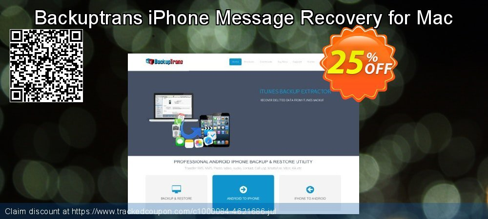 Backuptrans iPhone Message Recovery for Mac coupon on Easter discount