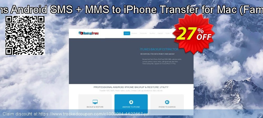 Backuptrans Android SMS + MMS to iPhone Transfer for Mac - Family Edition  coupon on World Chocolate Day offer