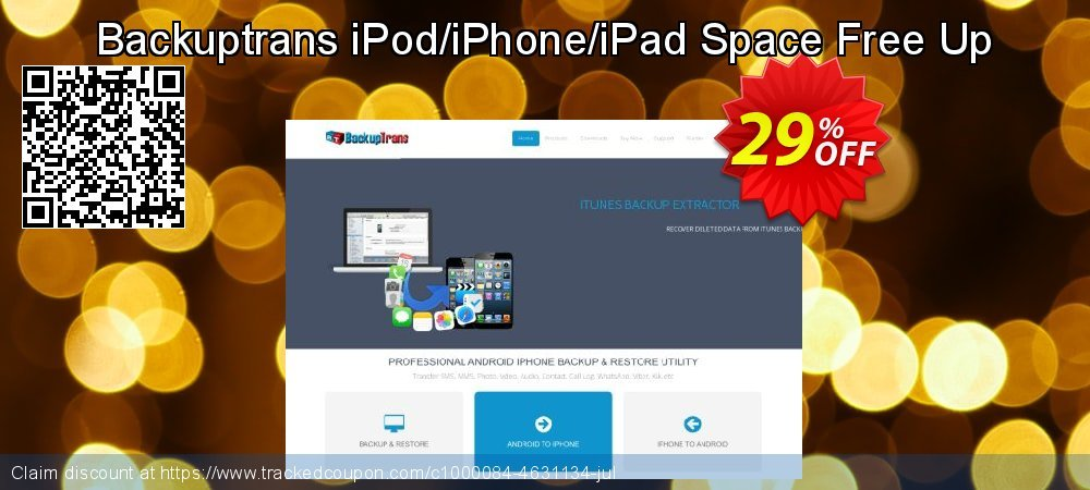 Backuptrans iPod/iPhone/iPad Space Free Up coupon on Back to School season offering sales