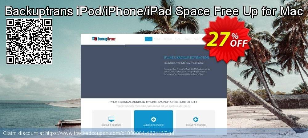 Backuptrans iPod/iPhone/iPad Space Free Up for Mac coupon on Exclusive Student discount promotions