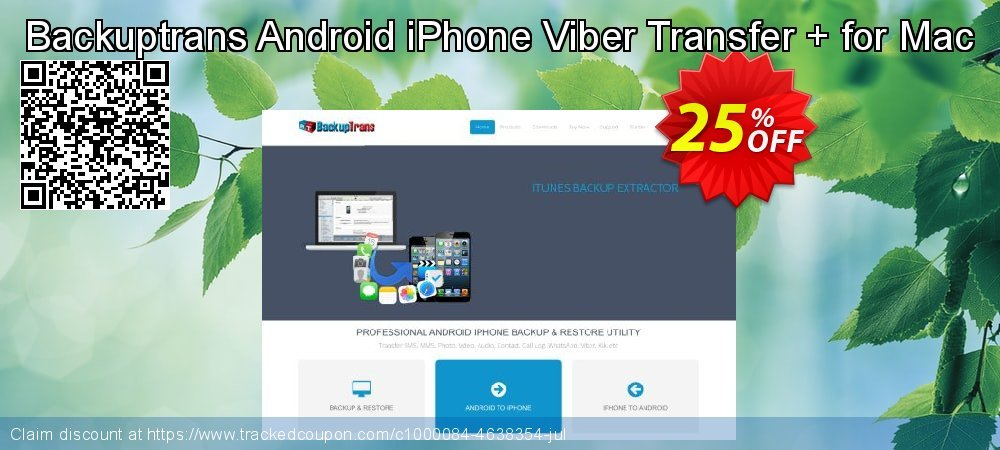 Backuptrans Android iPhone Viber Transfer + for Mac coupon on Easter discount