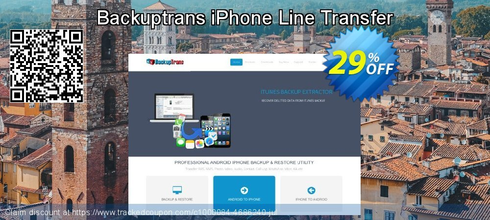 Backuptrans iPhone Line Transfer coupon on Back to School promotion offering discount