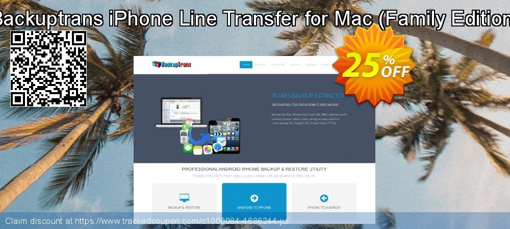 Backuptrans iPhone Line Transfer for Mac - Family Edition  coupon on April Fool's Day offering discount