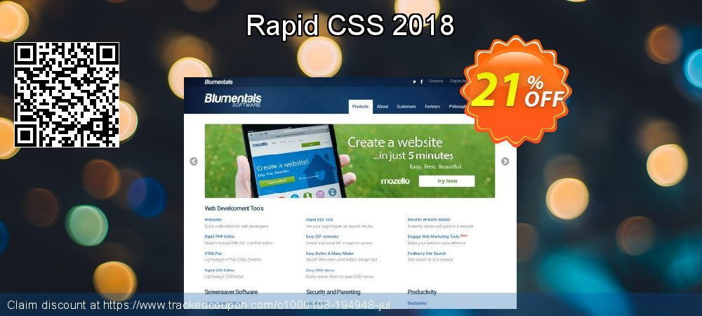 Get 20% OFF Rapid CSS 2018 offering sales