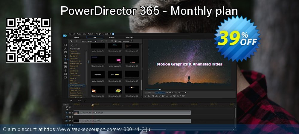 PowerDirector 365 - Monthly plan coupon on Super bowl super sale