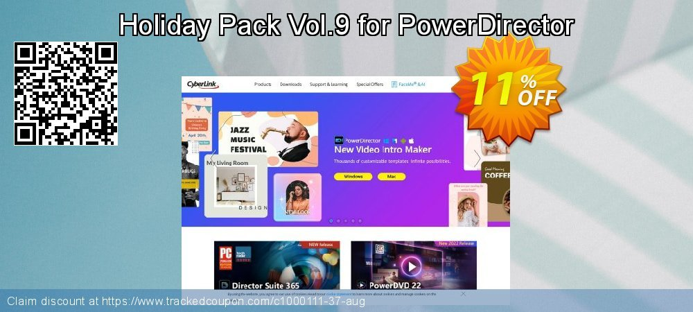 Holiday Pack Vol.9 for PowerDirector coupon on New Year's Day offering discount