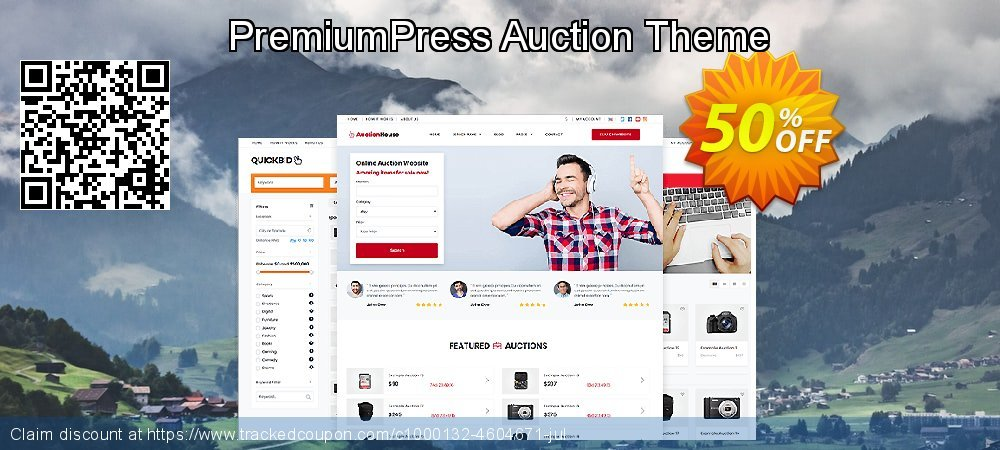 PremiumPress Responsive Auction Theme coupon on College Student deals offering sales