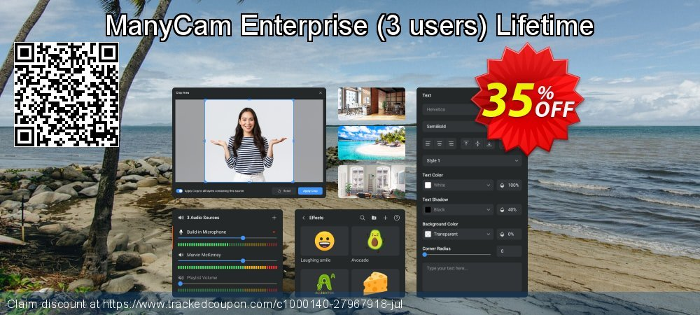 ManyCam Enterprise - 3 users Lifetime coupon on World Bollywood Day promotions