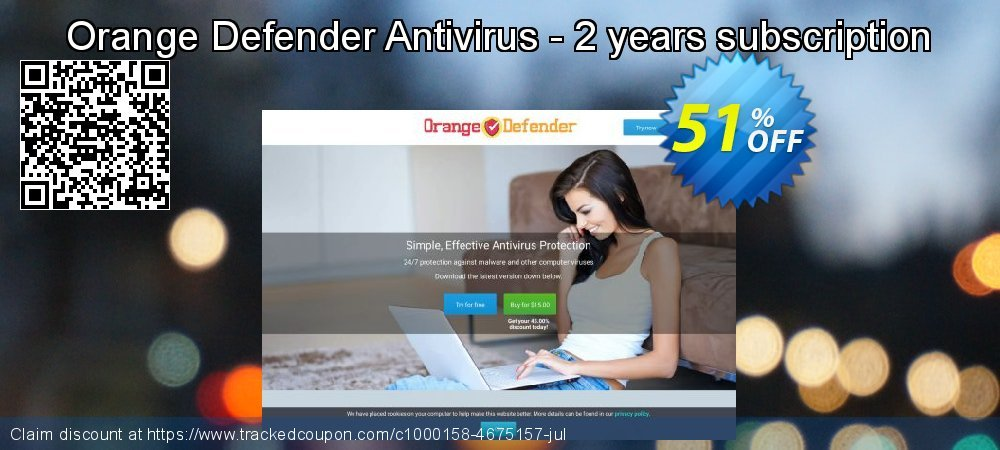 Get 50% OFF Orange Defender Antivirus - 2 years subscription offering sales