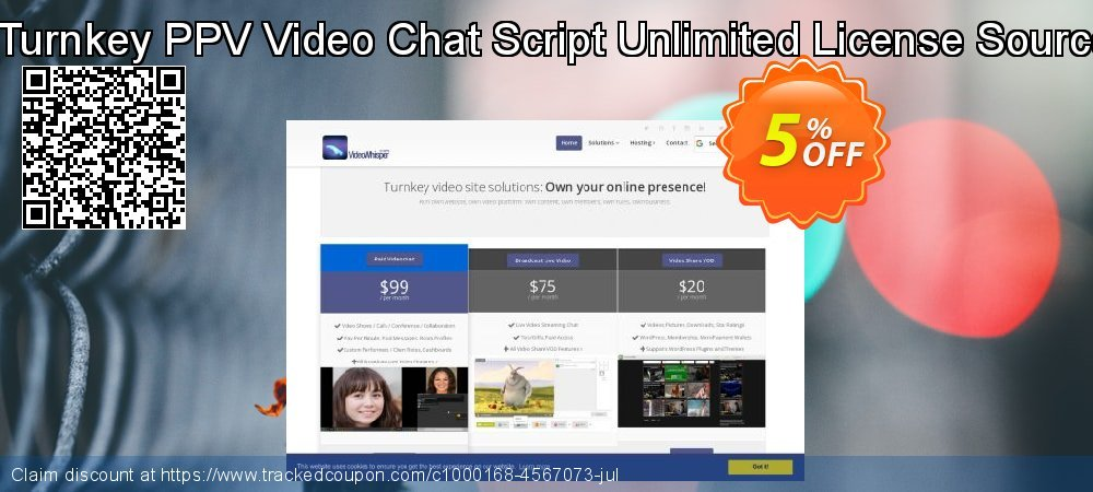 Get 5% OFF VideoGirls BiZ Turnkey PPV Video Chat Script Unlimited License Source Resell Rights offering sales