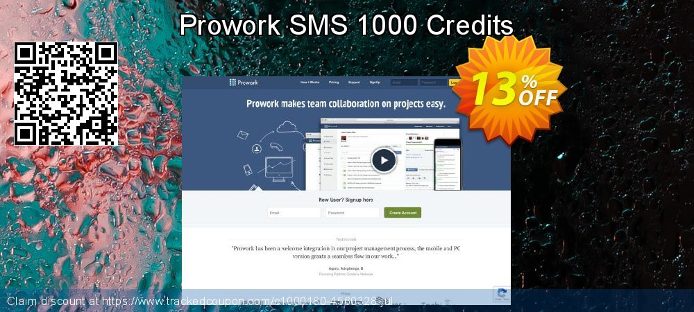 Prowork SMS 1000 Credits coupon on Mom Day offering sales