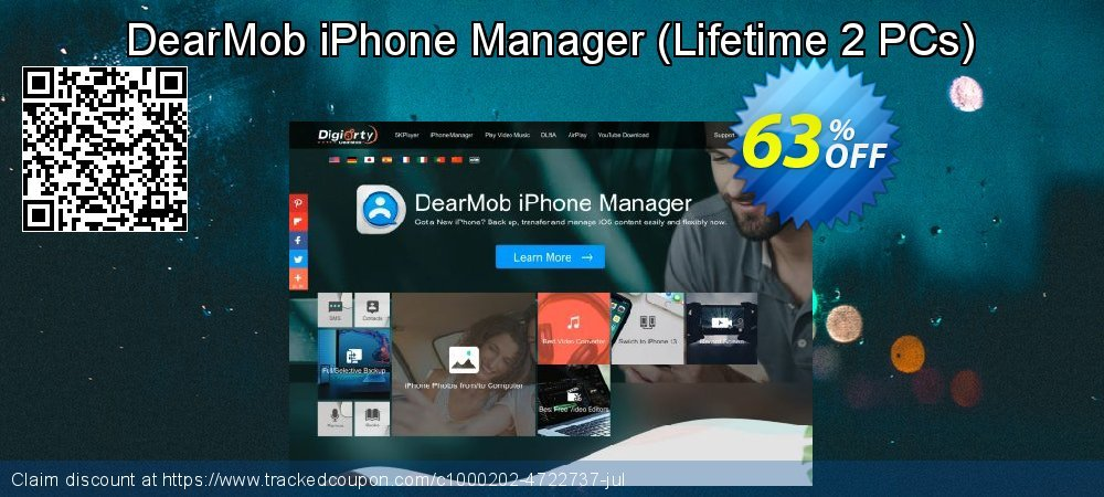 Get 63% OFF DearMob iPhone Manager (Lifetime 2 PCs) promo sales