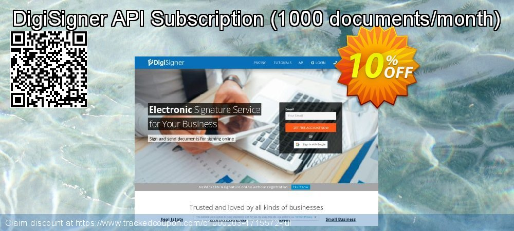 DigiSigner API Subscription - 1000 documents/month  coupon on Mom Day offering discount