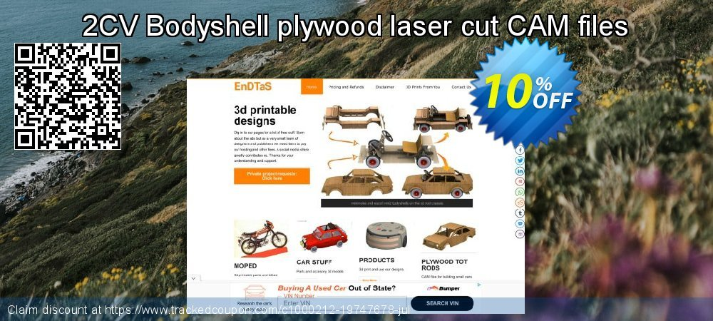 Get 10% OFF 2CV Bodyshell plywood laser cut CAM files promo