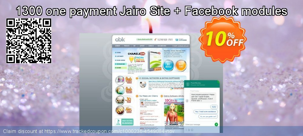 1300 one payment Jairo Site + Facebook modules coupon on University Student offer promotions