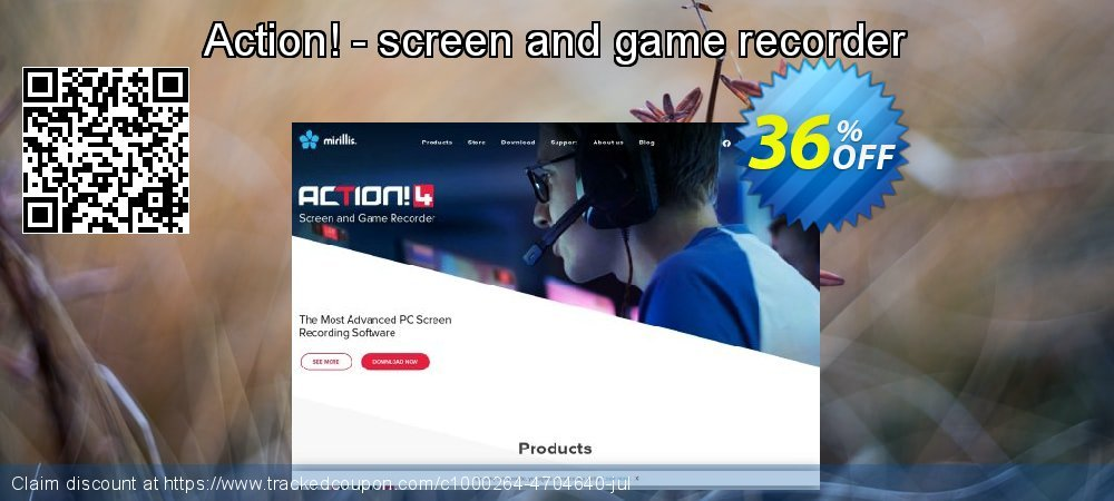 Get 34% OFF Action! - screen and game recorder offer
