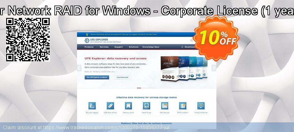 UFS Explorer Network RAID for Windows - Corporate License - 1 year of updates  coupon on Halloween super sale