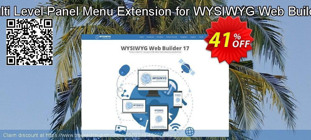 Get 33% OFF Multi Level Panel Menu Extension for WYSIWYG Web Builder offering sales