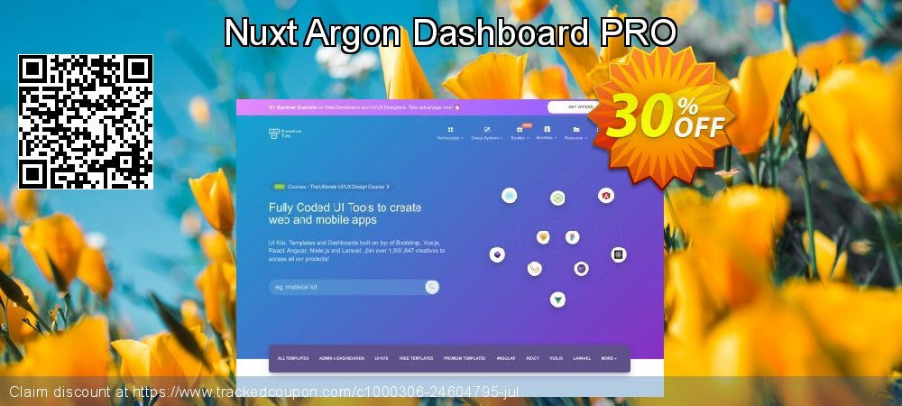Get 30% OFF Nuxt Argon Dashboard PRO offering discount