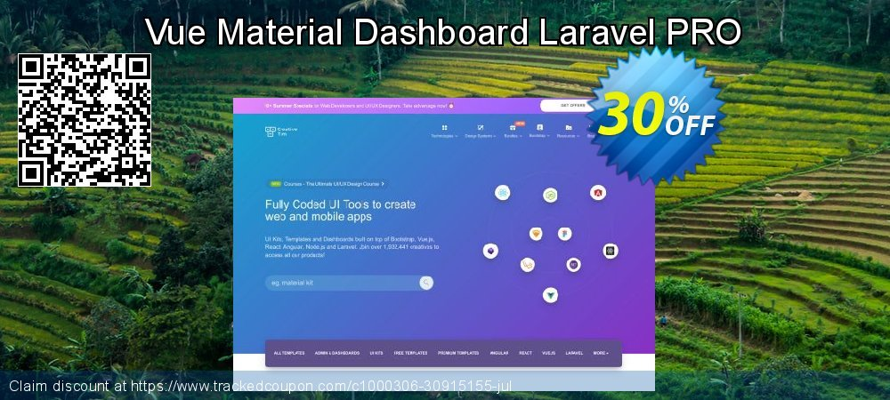 Vue Material Dashboard Laravel PRO coupon on Black Friday discount