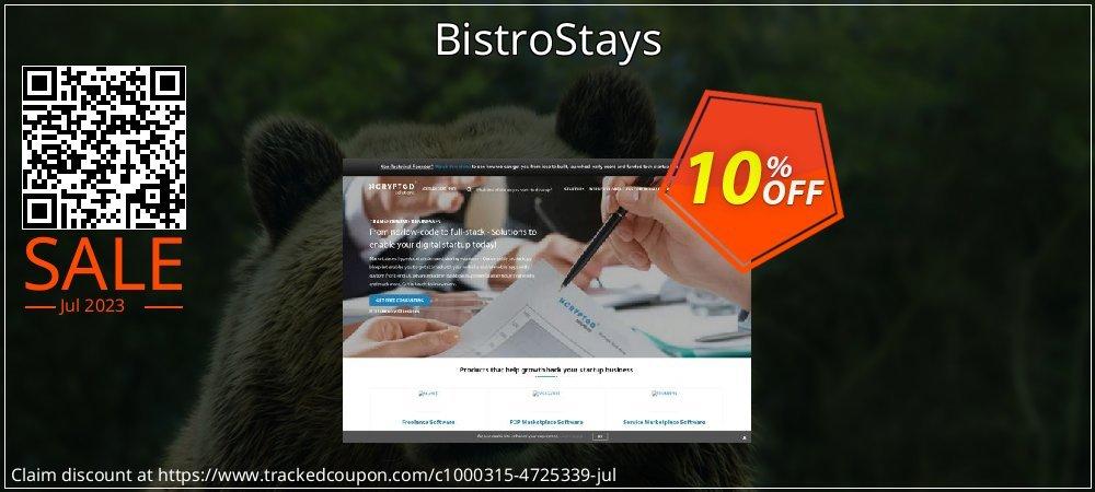 Get 10% OFF BistroStays offering sales