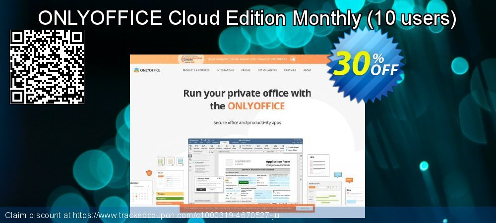 Get 30% OFF 6-10 users - ONLYOFFICE Cloud Edition Monthly Subscription offering discount