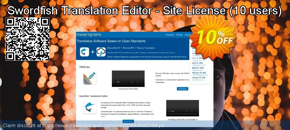 Get 10% OFF Swordfish Translation Editor - Site License (10 users) offering sales